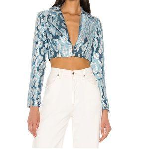 NBD Hera Cropped Blazer in Blue & Silver Size S